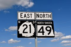 Tecken North Dakota för statlig huvudväg royaltyfri bild