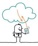 Tecken och moln - anslutning stock illustrationer