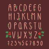 Tecken och nummer för stilsort för design för tryck för kort för nytt år för alfabet för typ för vektor för rotting för julstilso vektor illustrationer