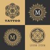 Tecken och ram för tappning lyxigt blom- royaltyfri illustrationer