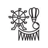 Tecken och symbol för nöjesfältsymbolsvektor som isoleras på vit bakgrund, nöjesfältlogobegrepp royaltyfri illustrationer