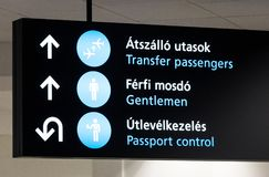 Tecken om passkontroll i den Budapest flygplatsen royaltyfria foton