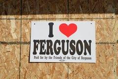 Tecken på den Ferguson affären Arkivfoto