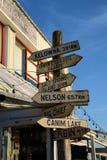 Tecken på den Fishermans hamnplatsen Steveston royaltyfri foto