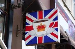 Tecken på det engelska kaffehuset Fotografering för Bildbyråer