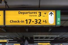 Tecken på flygplatsen Arkivbild