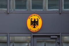 Tecken på tysk ambassad i Bryssel arkivbild
