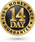 14 - tecken 100% pengar guld-, vektorillustratio för tillbaka garanti för dag Fotografering för Bildbyråer