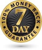 7 - tecken 100% pengar guld-, vektorillustration för tillbaka garanti för dag Arkivbilder
