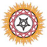 Tecken, pentagram och brand för svart magi vektor illustrationer