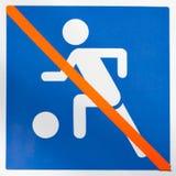 Tecken som förbjuder bollspelet Royaltyfria Bilder