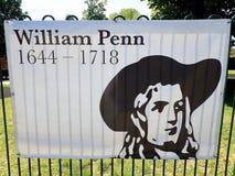 Tecken som firar minnet av livet av William Penn royaltyfria bilder