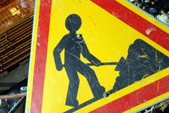 Tecken som indikerar arbeten stock illustrationer
