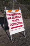 Tecken som riktar till den farliga förlorade samlingen för hushåll Arkivfoton
