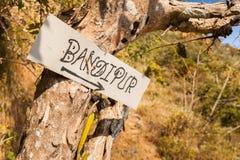Tecken till Bandipur Fotografering för Bildbyråer