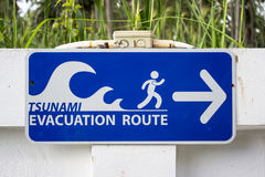 Tecken tsunami, flyktrutt, evakueringsrutt, evakuering, rutt, flykt, räddningsaktion, säkerhet, gräs, vit, blått, gräsplan, riktn Arkivbilder