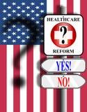 tecken USA för flaggasjukvårdreform Arkivbild