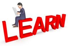 Teckenaffärsman Represents Learned Learn och tolkning för utveckling 3d vektor illustrationer