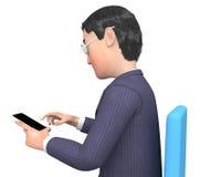 Teckenaffärsman Represents Phone Call och kalla tolkningen 3d Arkivfoton
