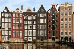 Teckenbyggnader av i stadens centrum Amsterdam Royaltyfria Bilder