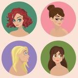 Teckendesign - flickaillustrationuppsättningen - Royaltyfri Fotografi
