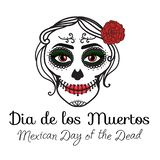 Teckendiameter de los muertos Catrina kvinna med smink av sockerskallen Mexicansk dag av dödaen Vektorillustrationhand royaltyfri illustrationer
