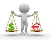 Teckendollar och euro Arkivbild