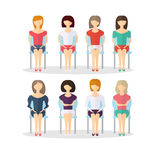 Teckenen av folk som sitter på en stol Väntande Hall också vektor för coreldrawillustration stock illustrationer