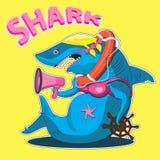 Teckenet är en kvinnlig haj med ett styrhjul och en högtalare i räddningslina bl? vektor f?r sky f?r oklarhetsbildregnb?ge royaltyfri illustrationer