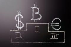 Teckenet är ledaren av Bitcoin över traditionella valutor: ett symbol av tillväxt- och ledarskapE-valuta Teckenet av Arkivfoto