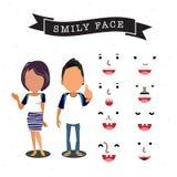 Teckenet av pojken och flickan med smiley vänder mot - Arkivfoton