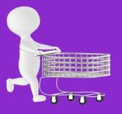 teckenet 3d, man den driftiga tomma shoppingvagnen royaltyfri illustrationer