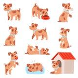 Teckenet in för den lilla valpen för vovven för hundvektorn som ställde det djura spelar eller sover animalistic vovve för illust stock illustrationer