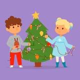 Teckenet för julungevektorn som spelar barn för vinterlekvinter, semestrar ungen för xmas för det nya året för tecknade filmen fö Stock Illustrationer