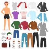 Teckenet för pojken för manklädvektorn klär upp kläder med modeflåsanden eller skor den pojkaktiga uppsättningen för illustration Royaltyfri Bild