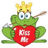 Teckenet för prinsessan Frog Cartoon Mascot med kronan och pilen som rymmer en förälskelsehjärta med text, kysser mig stock illustrationer