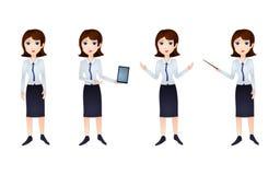Teckenet för vektoraffärskvinnan, papper Art Style Cartoon Personage i olikt poserar vektor illustrationer
