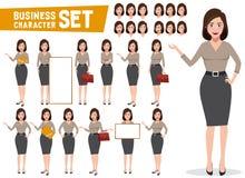 Teckenet för vektorn för affärskvinnan - ställ in med den yrkesmässiga unga kvinnlign royaltyfri illustrationer