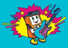 Teckenet spelar gitarren vektor illustrationer