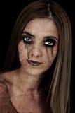 teckenflickahalloween zombie Royaltyfri Fotografi