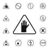 teckenhandsymbol Detaljerad uppsättning av symboler för varningstecken Högvärdigt kvalitets- tecken för grafisk design En av saml Arkivfoton