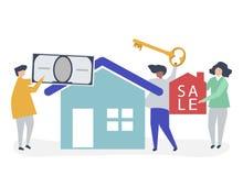 Teckenillustration av folk som säljer huset vektor illustrationer