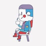 Teckenillustrationdesign Pojke som dricker kaffetecknade filmen, eps vektor illustrationer