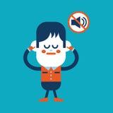 Teckenillustrationdesign Pojken förböds för att tala carto Arkivfoto