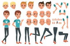 Teckenkonstruktör för ung man med kroppsdelben, armar, handgester Ilsken, missbelåten, förvånad och lugna framsida stock illustrationer