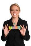 teckenkvinna för holding 401k Arkivfoton