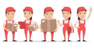 Teckenleveransman i röd likformig med kartongen vektor illustrationer