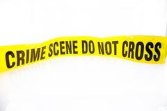 Teckenpåse med tecken som förseglar bandet för brottsplats Arkivbild