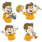Teckenpojke Stock Illustrationer