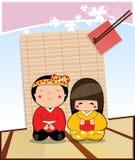 Teckenpojke- och flickajapan Arkivbild